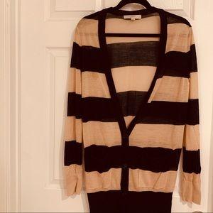 Loft Long Bold Stripe Button Cardigan